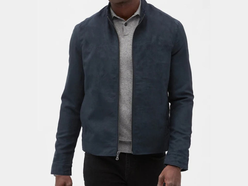 Vegan Suede Jacket on model