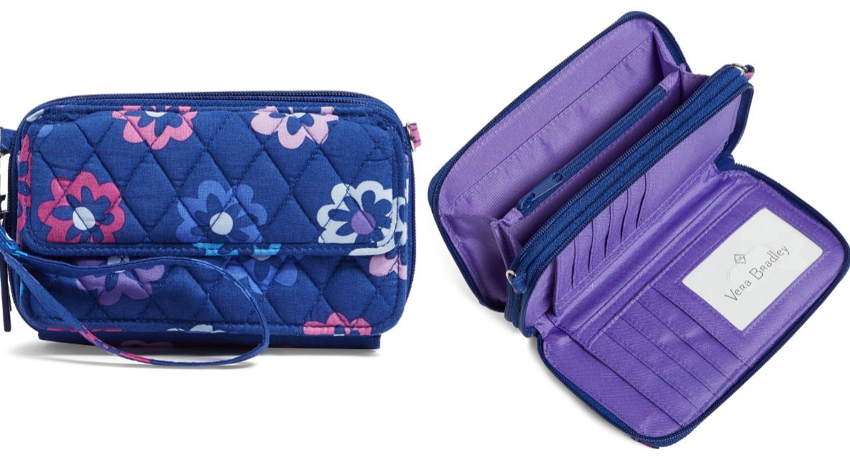 blue and purple floral crossbody bag