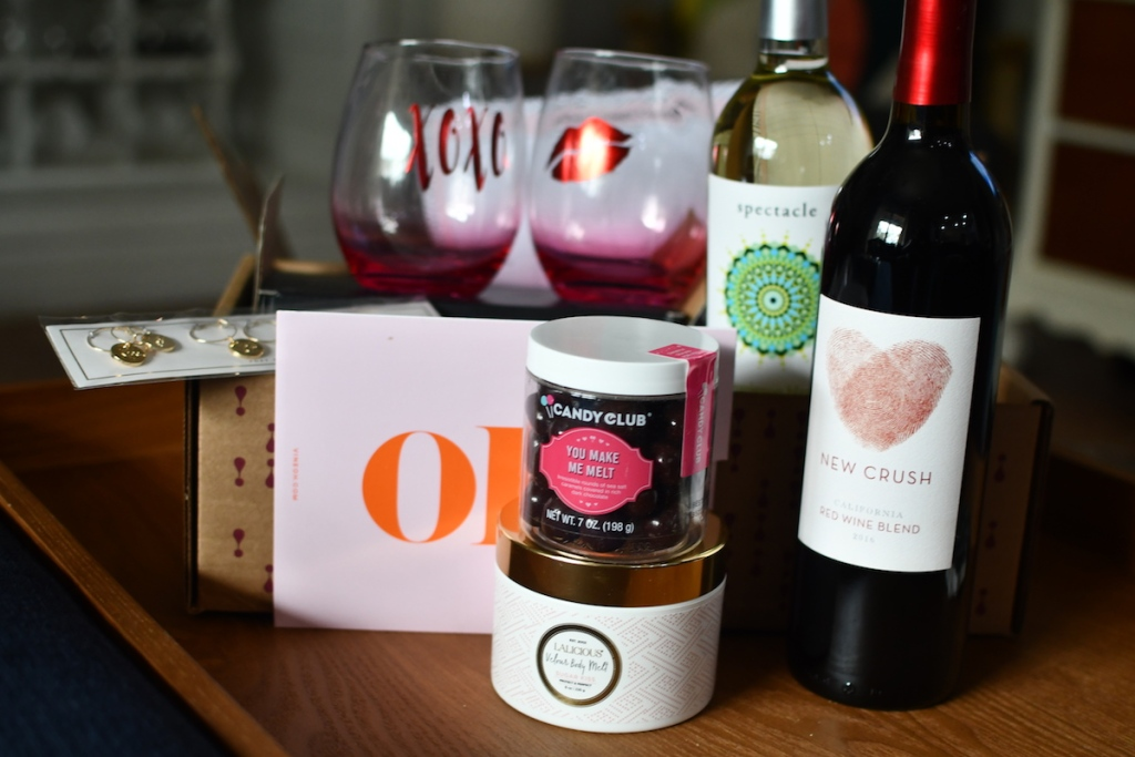 Vine Oh February box with wine, chocolates and glasses