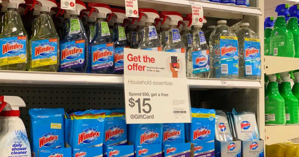 target shelf with windex products and sale sign