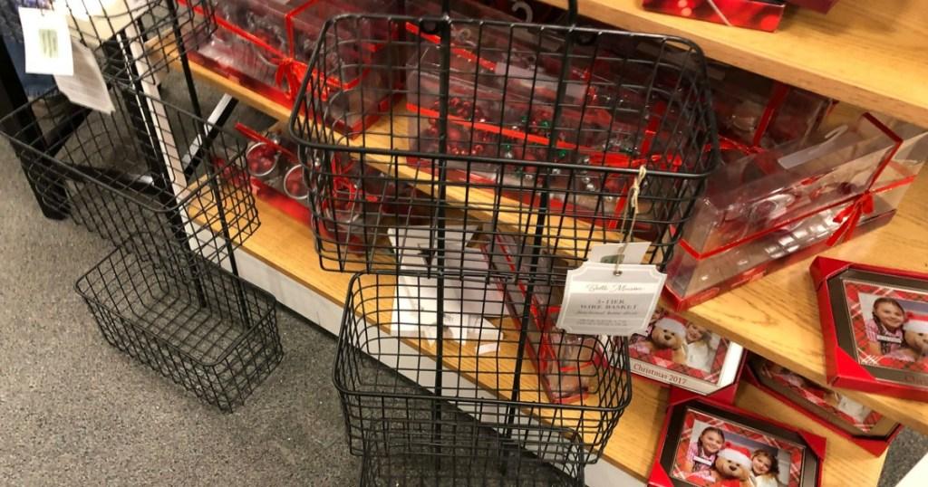 Wire Basket 3-Tier Metal Wall Decor in-store