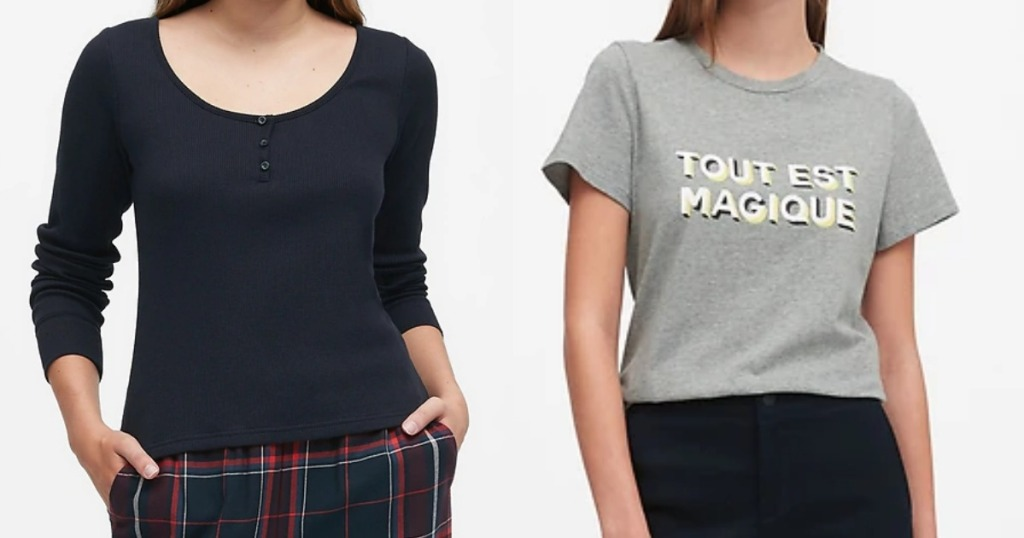 Women's Banana Republic Tees worn by models
