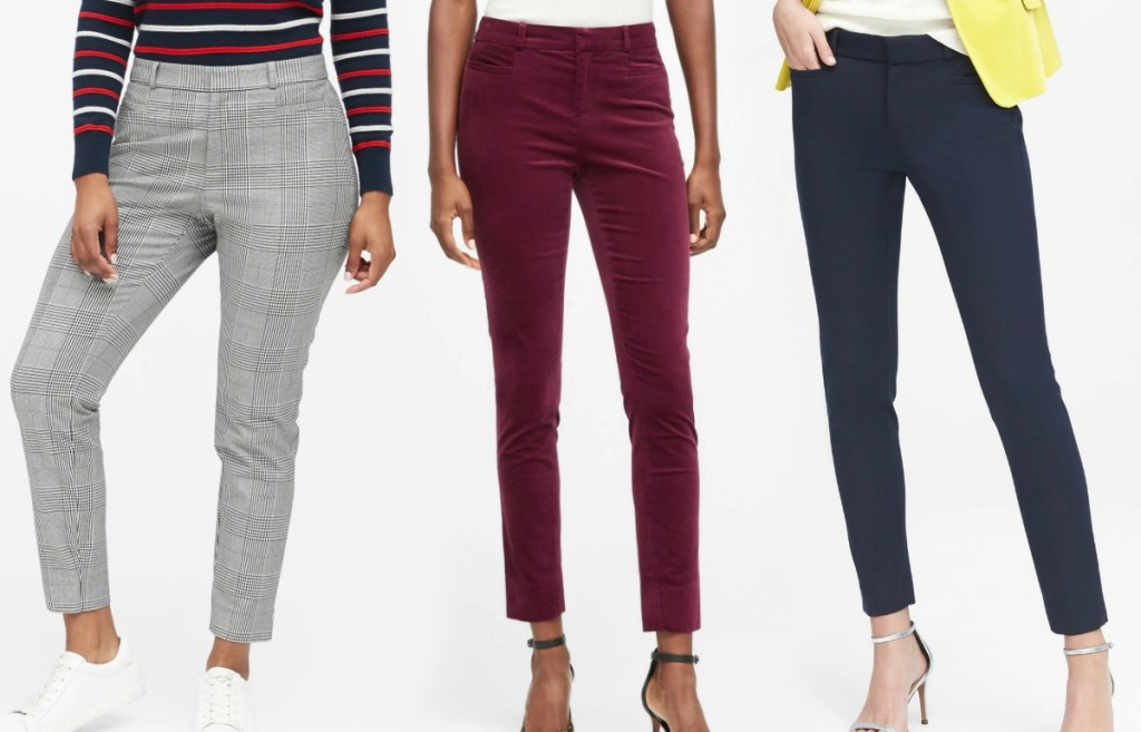 Women wearing three different styles of dress pants
