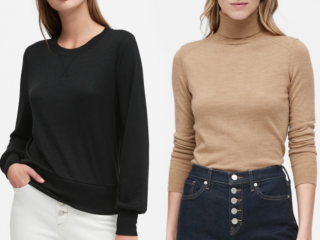 Two women wearing different styles and colors of sweaters with high rise jeans