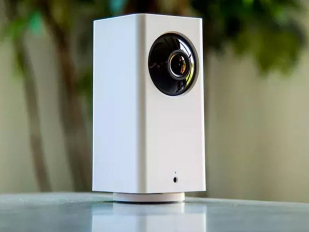 White indoor smart camera on counter