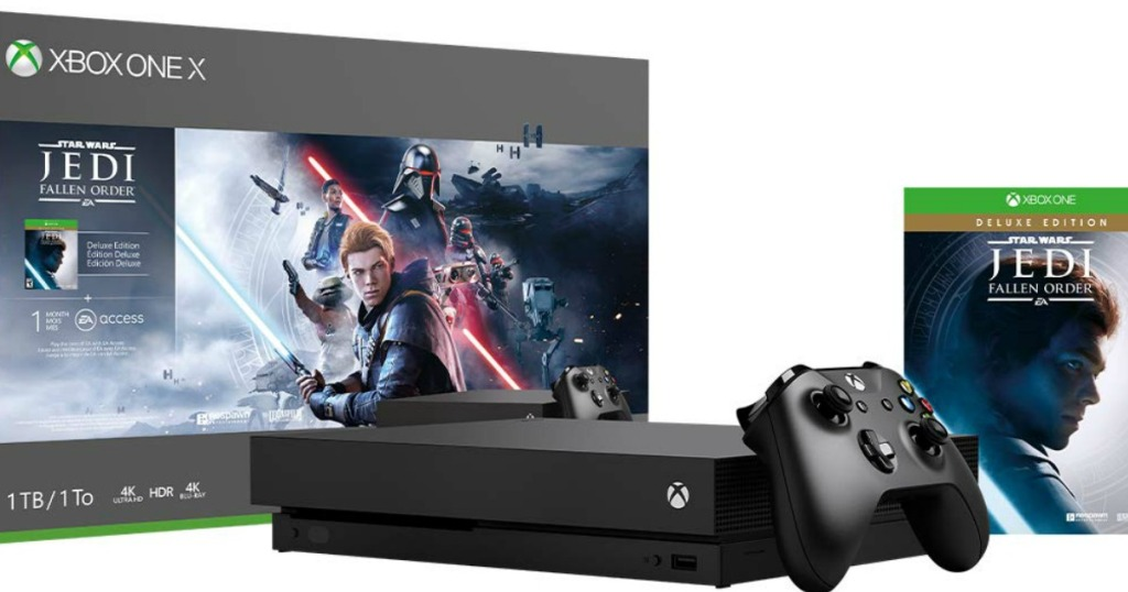 Xbox One X 1TB Star Wars Jedi Fallen Order Bundle box console and game cover