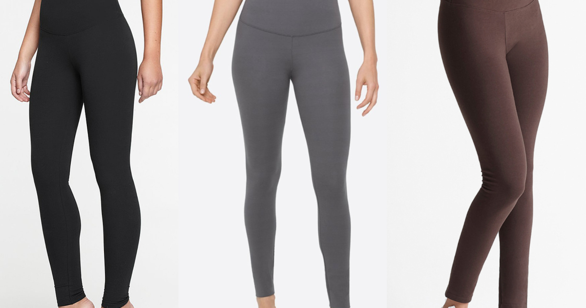 3 women wearing different colored leggings