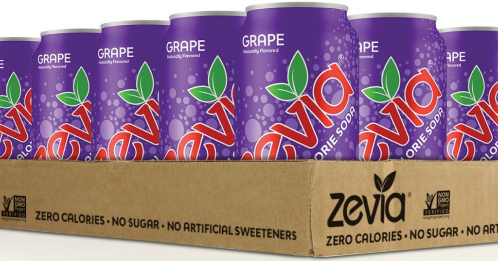 Zevia soda grape in a box