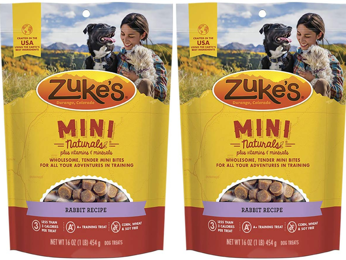 two zuke's mini naturals dog treat bags