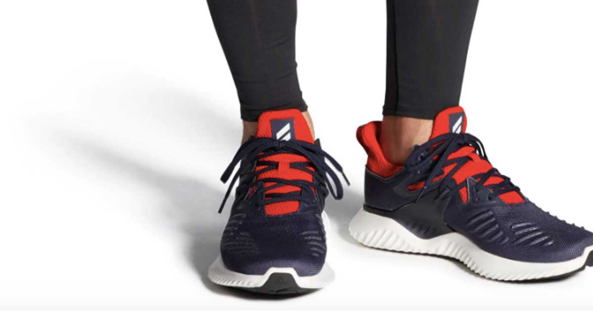 person wearing Adidas Men's Alphabounce Beyond 2 Running Shoes
