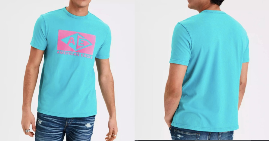american eagle flocked graphic tee