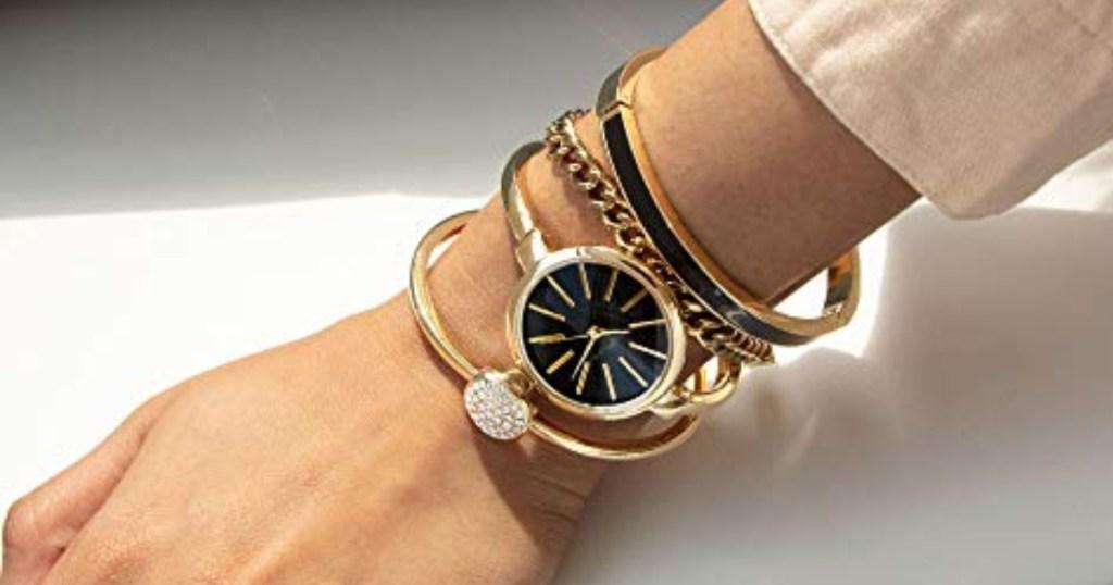 anne klein bangle watches on wrist