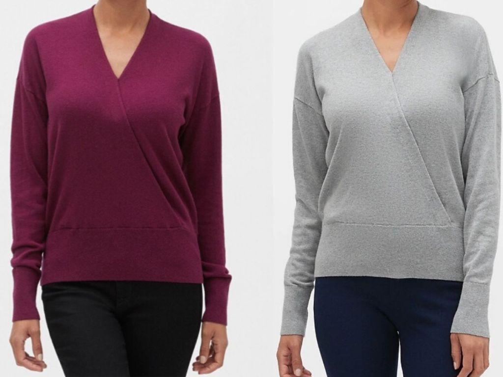 women wearing front wrap sweater