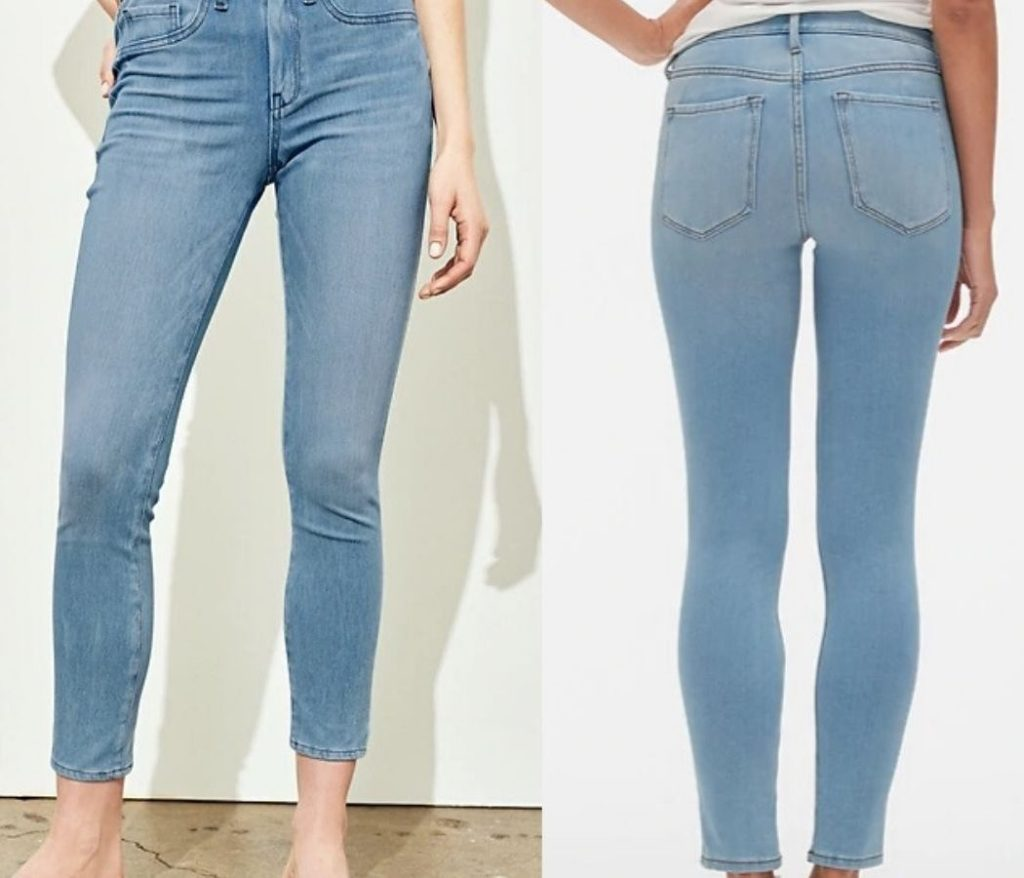 woman wearing jeans with front and back view