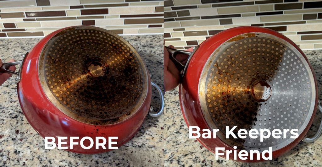 before and after of the bottom of a red pan dirty and clean