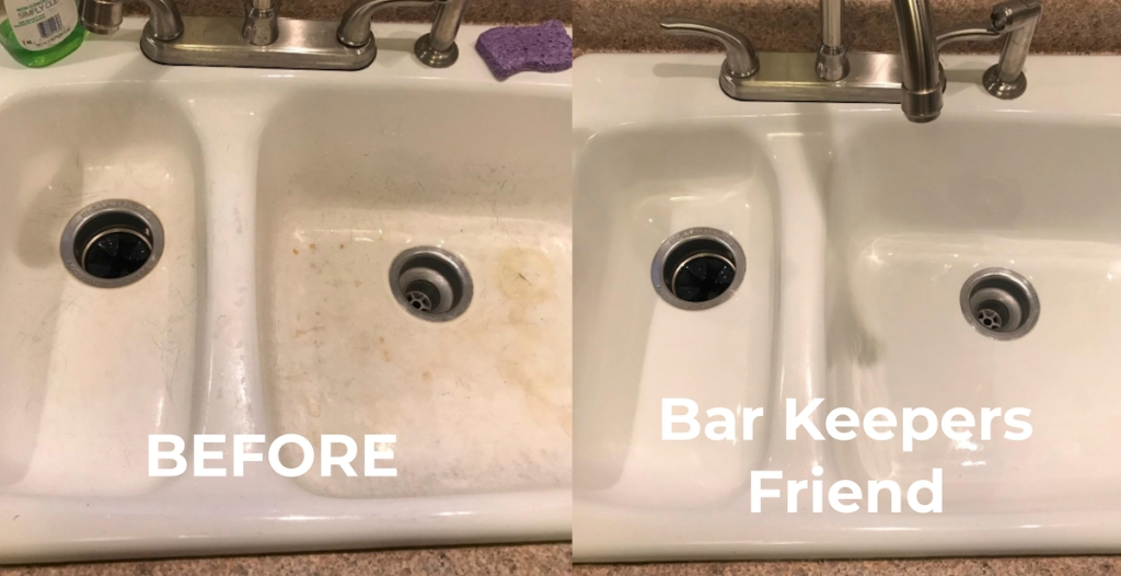 white sink before and after bar keepers friend
