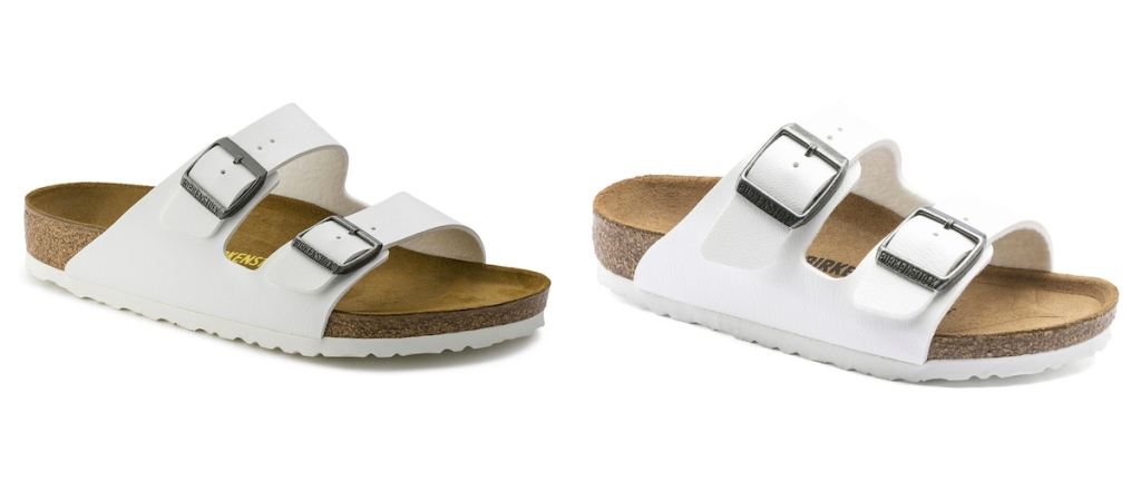 side by side of white stock photos of white birkenstock sandals