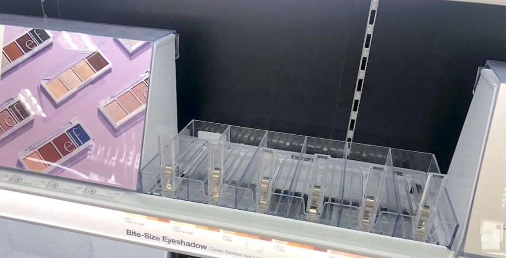 empty makeup store shelf