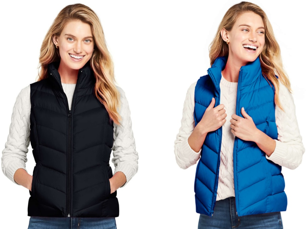 woman wearing black and blue lands end Women's Winter Down Puffer Vest