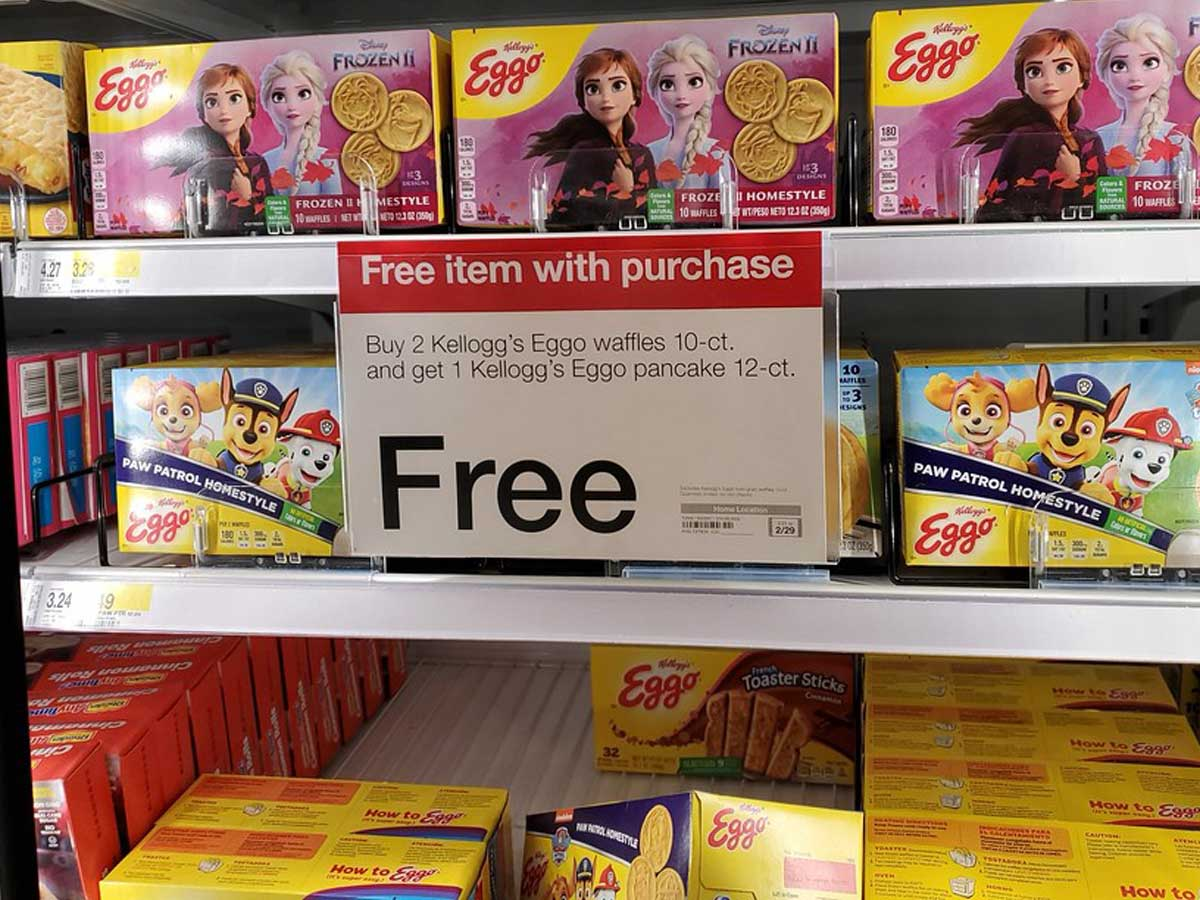 sign showing the deal for buy 2 get 1 free eggo