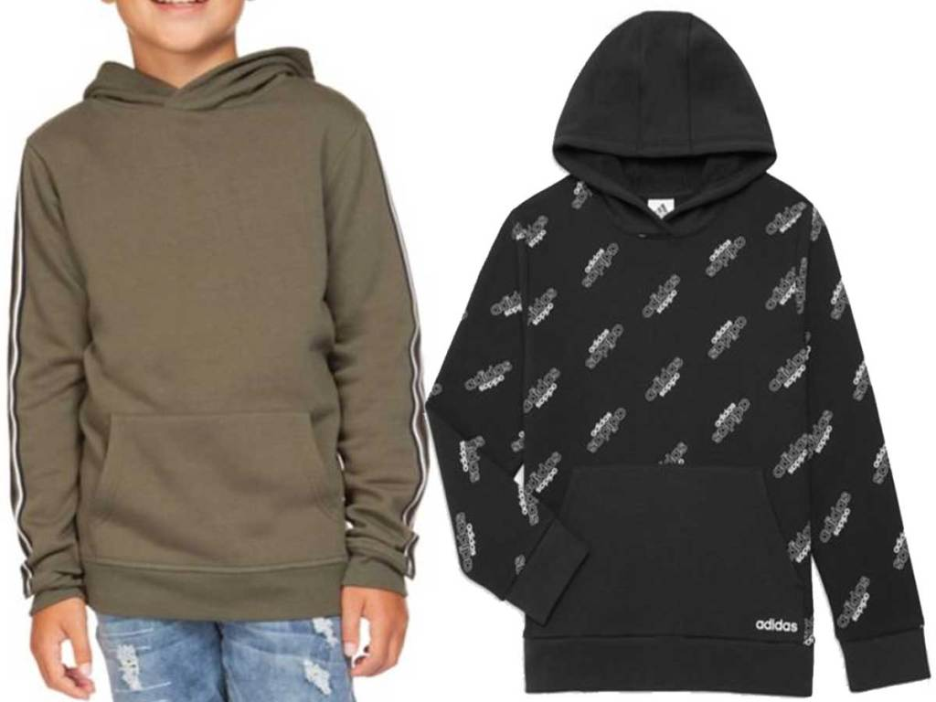 boy wearing brown sweatshirt and stock image of brand name one beside him