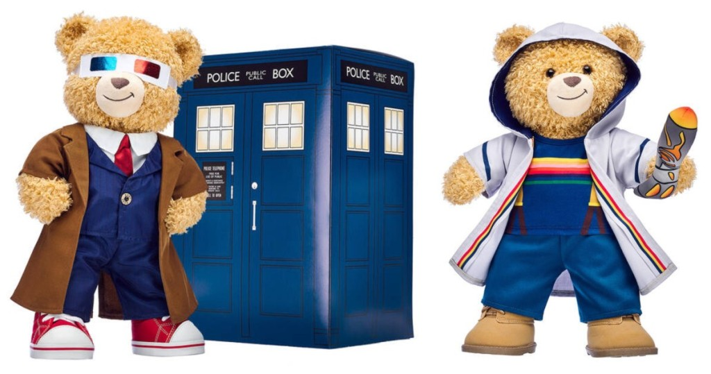 Build-A-Bears dressed like Doctor Who characters