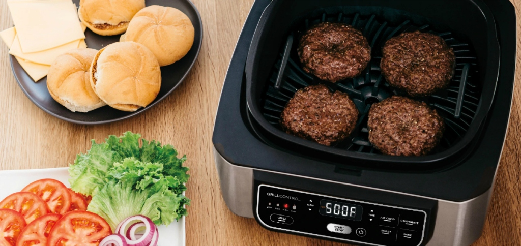 burgers on Ninja Foodi grill