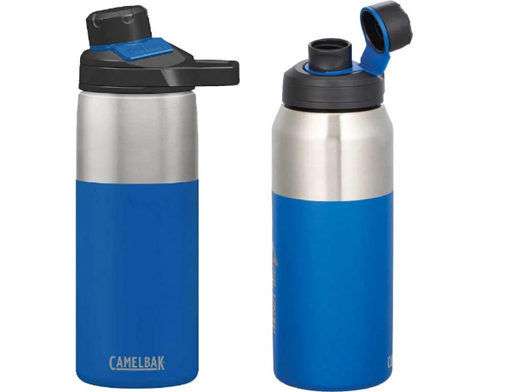 stainless steel water bottle with chute mag top in blue
