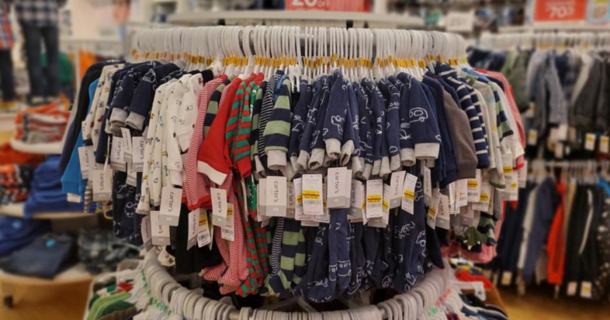racks of children's pajamas in store