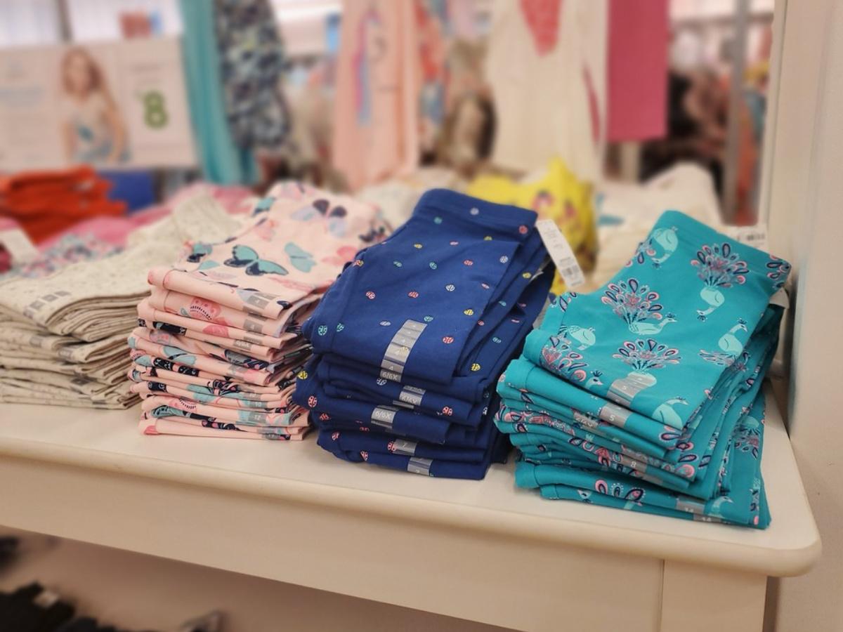 kids leggings folded on display in store