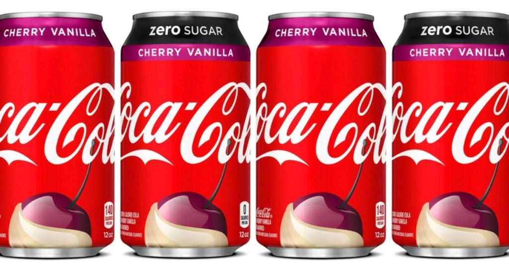 4 cans of Cherry Vanilla Coca Cola