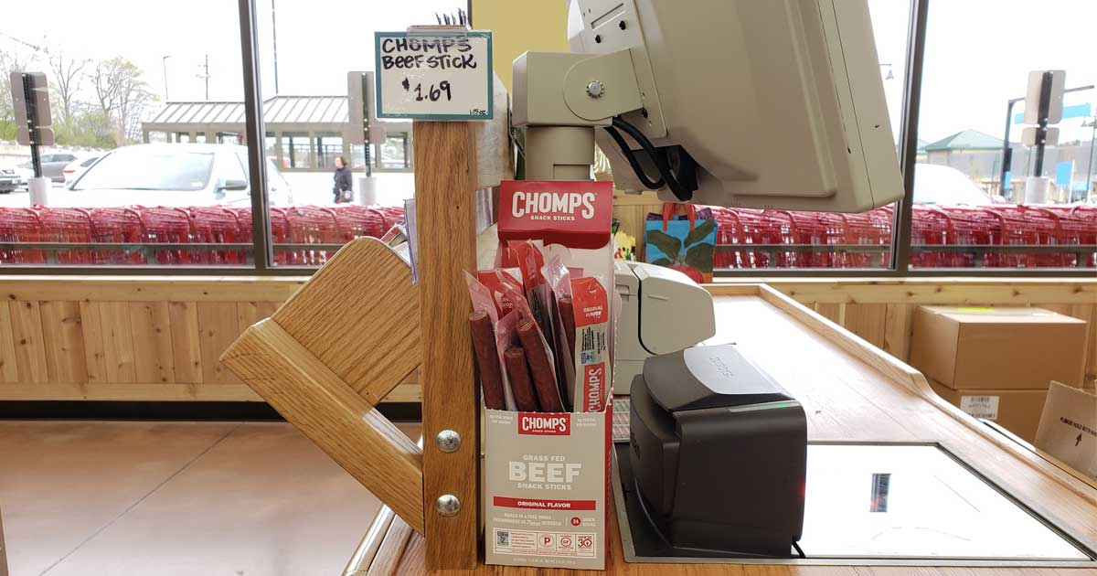 chomps meat sticks by cash register in store