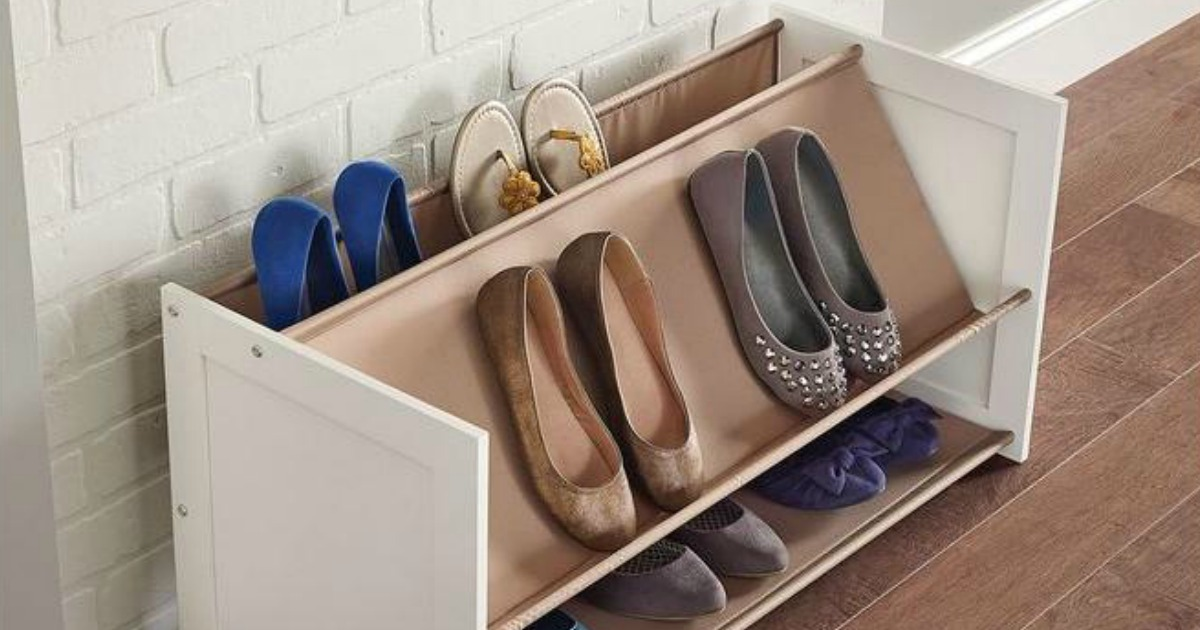 shoe rack with shoes against the wall