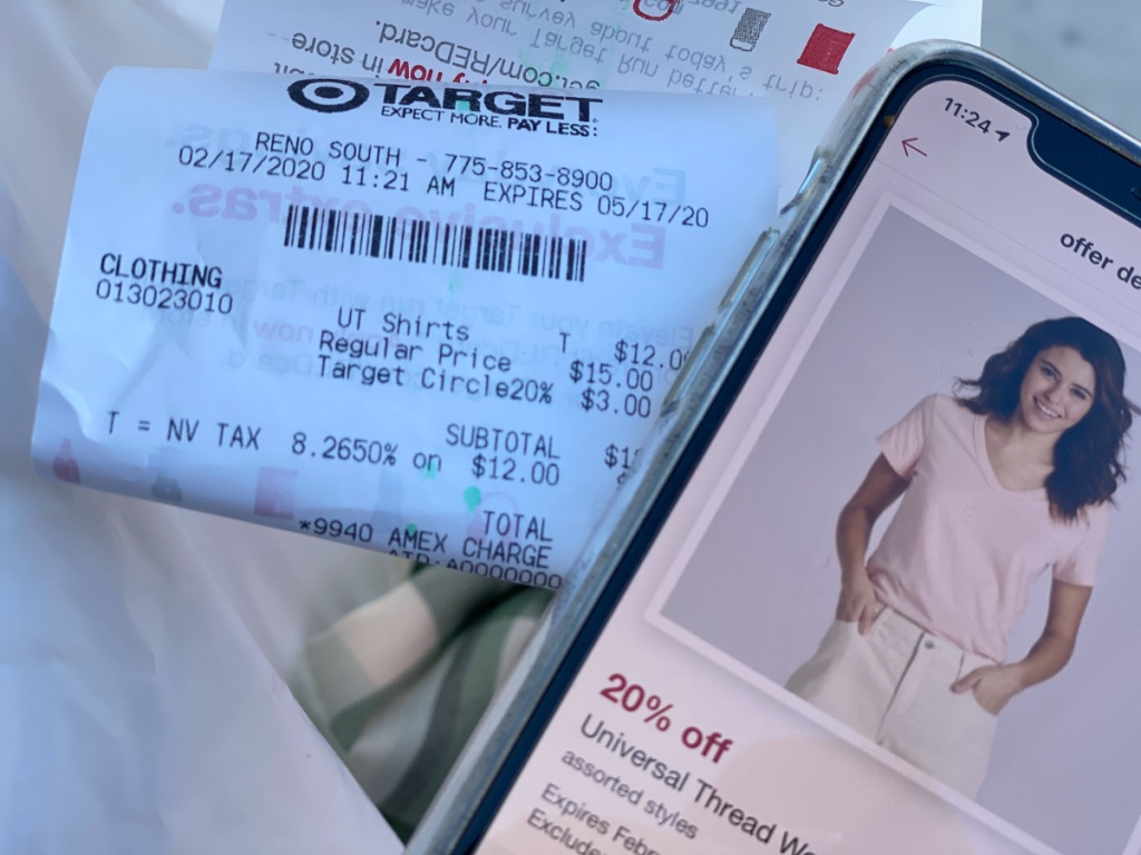 target receipt and phone on target circle page
