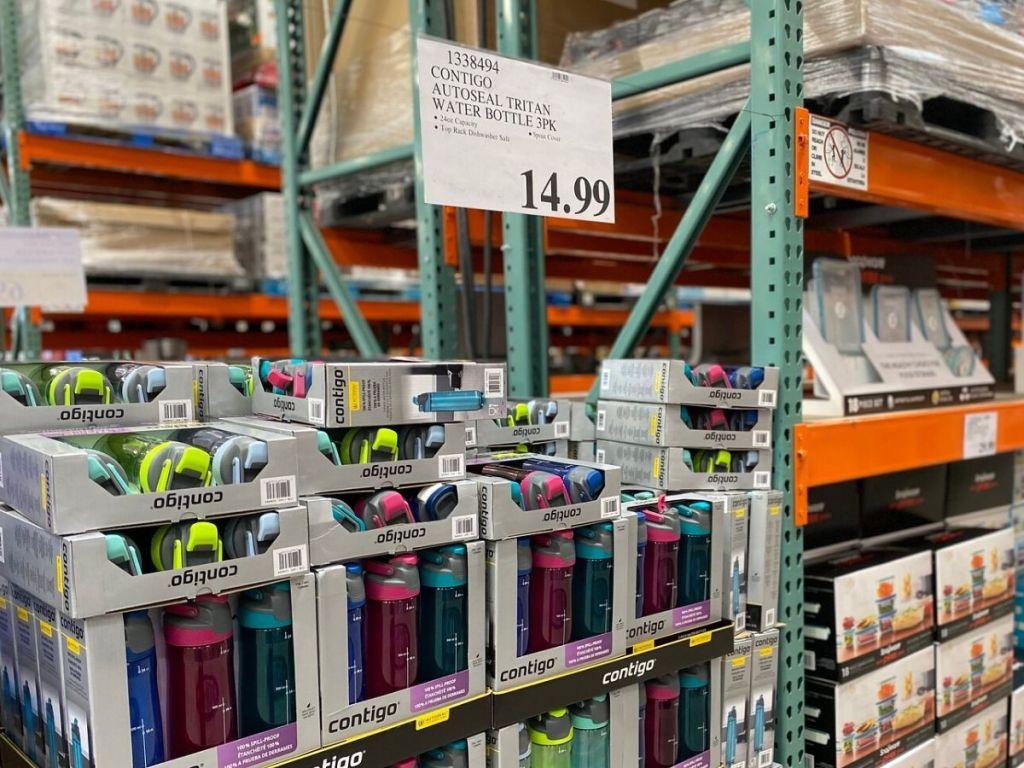 display of water bottle 3 packs in store