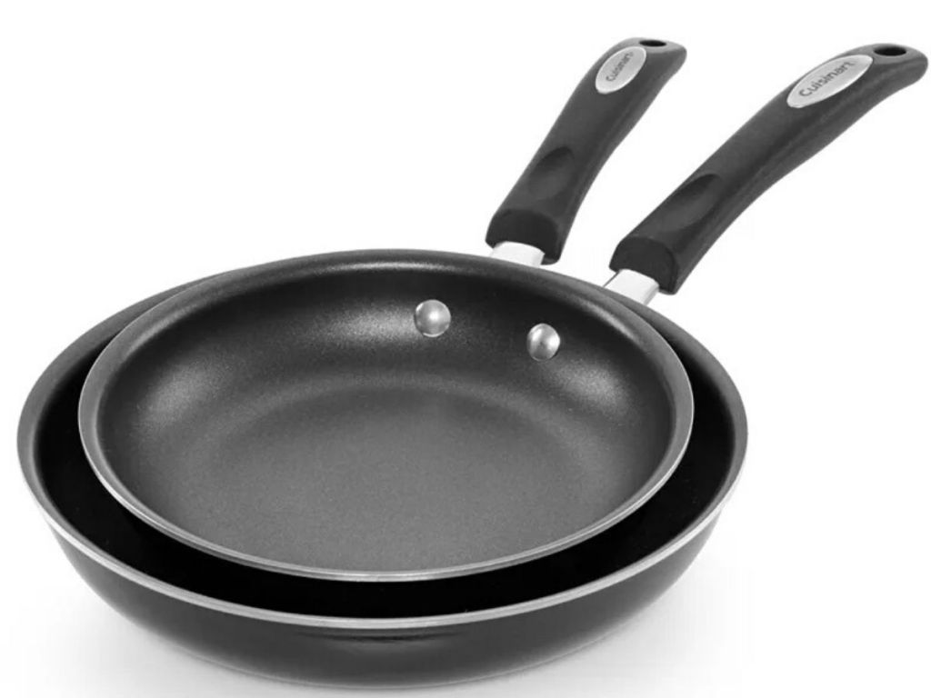 two skillets nested one inside the other