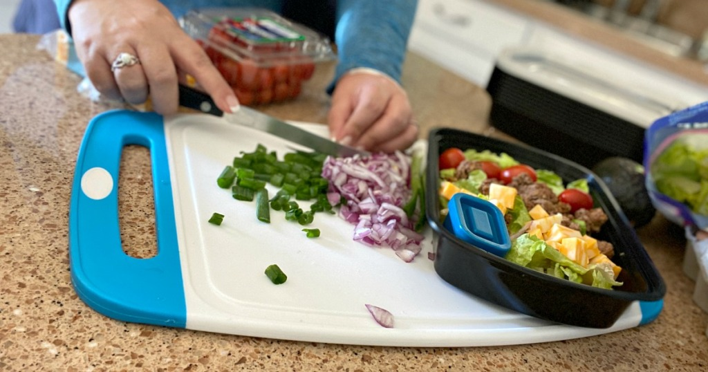 cutting veggies on a Gorilla Grip cutting board
