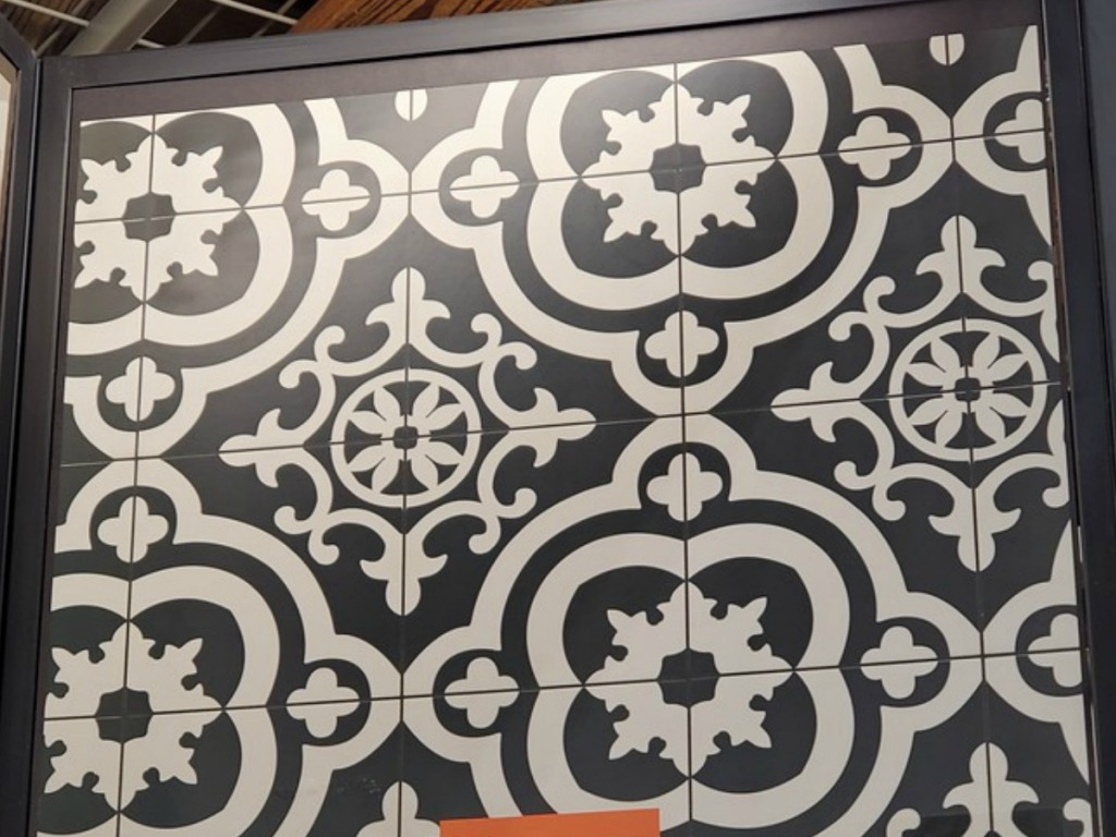 black and white tile display at store