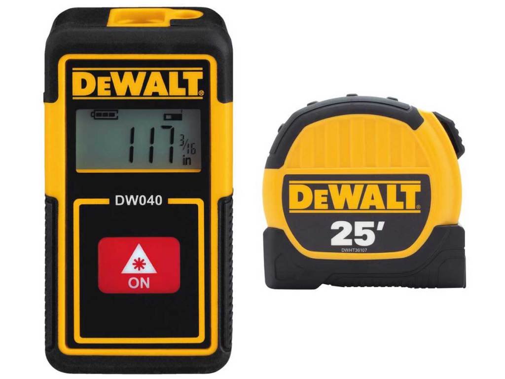 DeWalt Rechargeable Pocket Laser Distance Measurer AND 25 ft Tape Measure