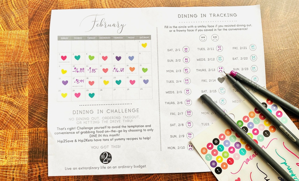 dining in challenge worksheet tracker