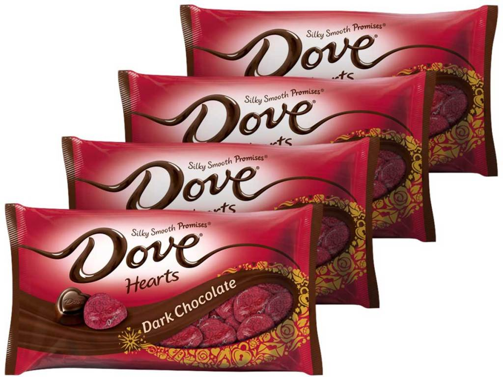 Dove Promises Valentine Dark Chocolate Candy Hearts 4-pack
