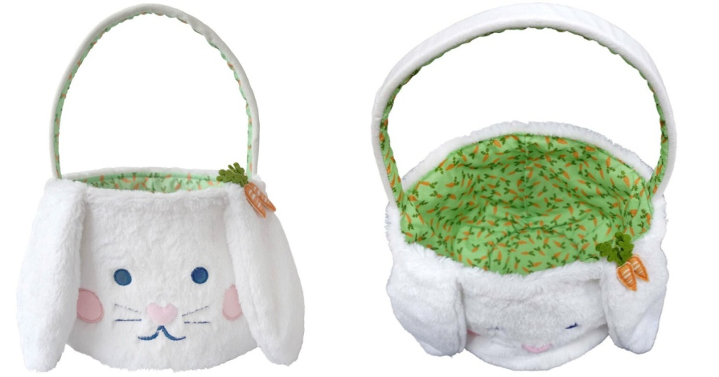 white bunny basket with green lining