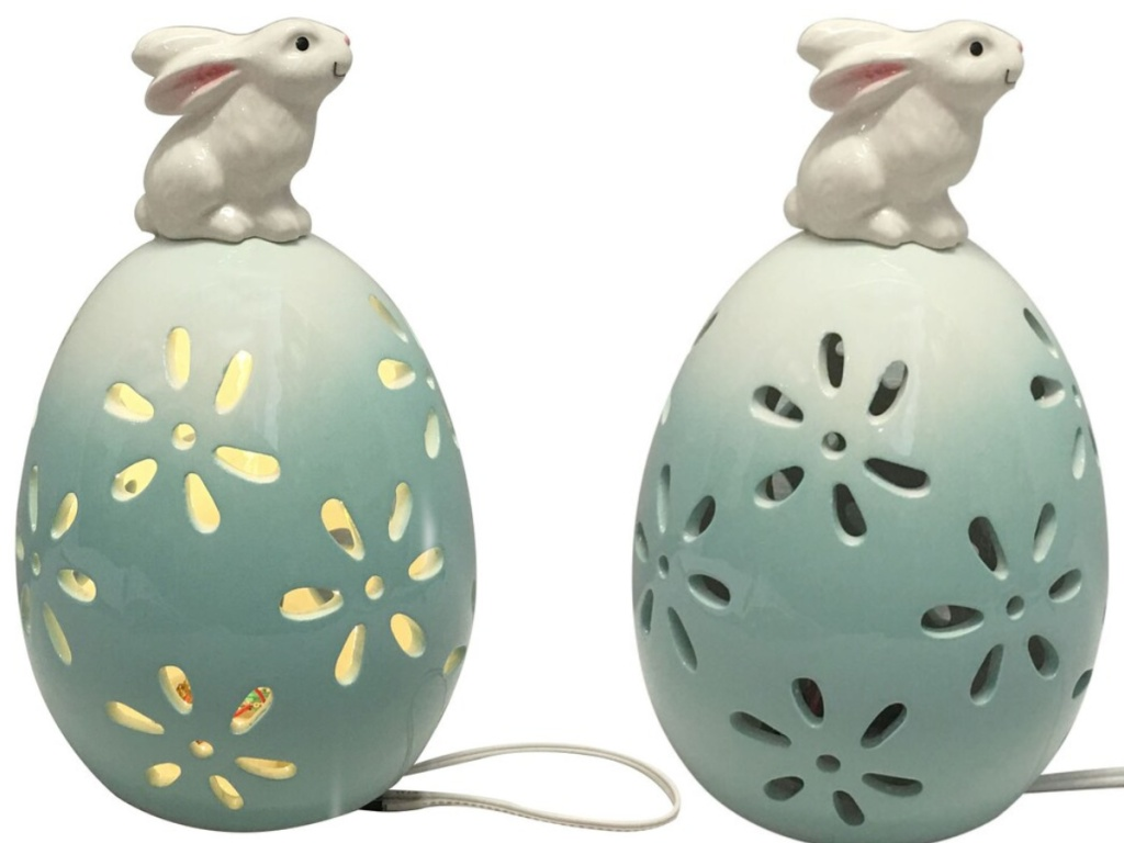 bunny on ceramic blue egg with flower cutouts