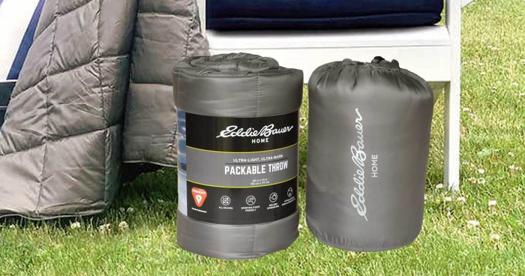 eddie bauer packable throws and bag