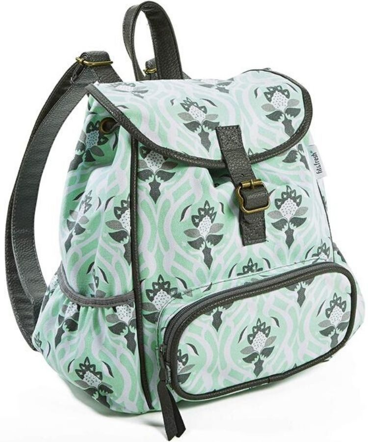 small green and gray backpack