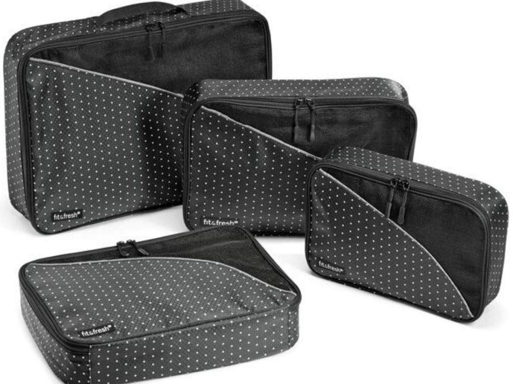 four sizes of packing cubes storage bags