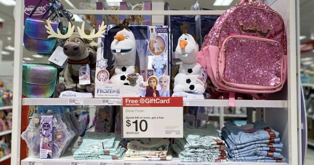 display of girl's clothing, toys and accessories at store featuring disney frozen 2 characters