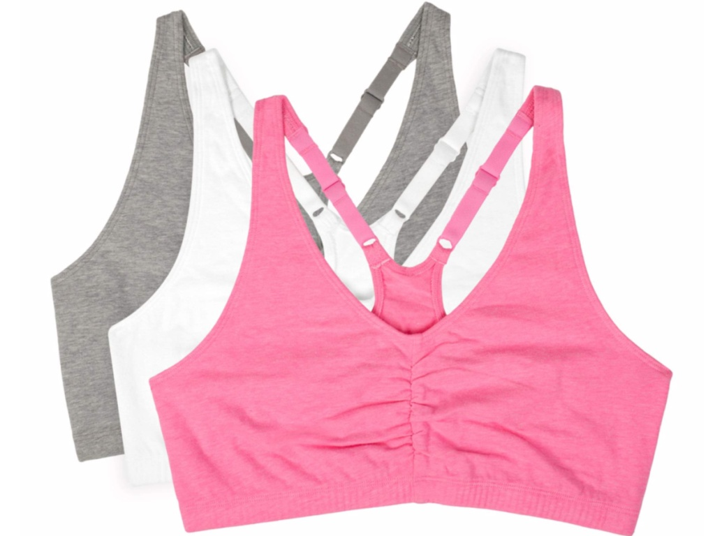 neon pink, white and gray racerback bras