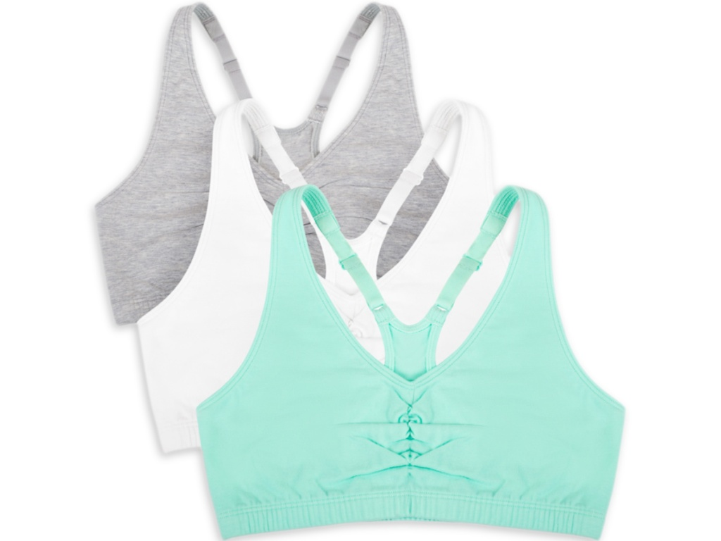 mint, white and gray racerback bras