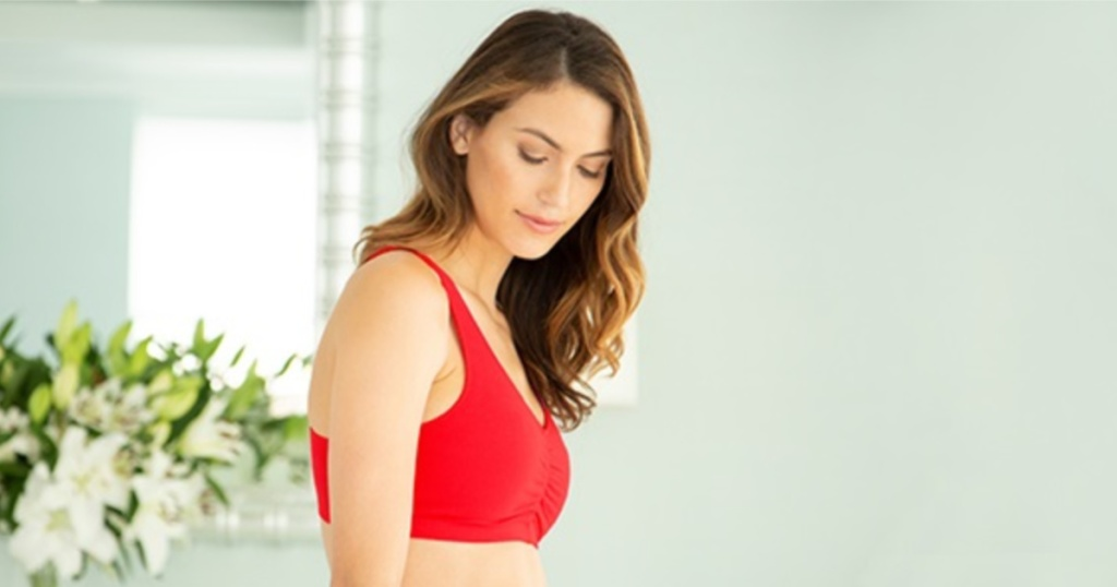 woman wearing red hanes bra